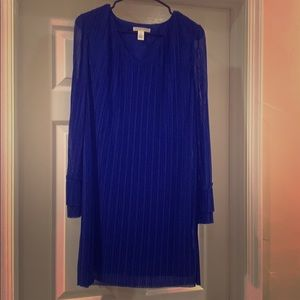 Royal blue dress with sheer sleeves